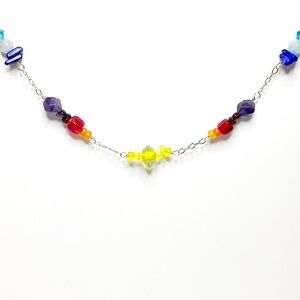 Rainbow Stone Necklace in Sterling Silver